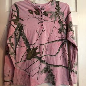Long sleeve pink camouflage shirt